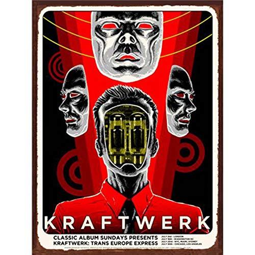 Easy Painter Vintage Tin Sign, Metal Music Poster, Hot Shop Retro Bar Signs Wall Art Stickers - Kraftwerk 20X30cm