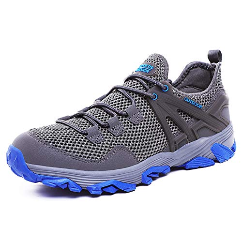 Idea Frames Men Hiking Shoes Lightweight Non-Slip Outdoor Sneaker for Walking Trekking Camping Trail Running Shoe Grey/Blue from Idea Frames