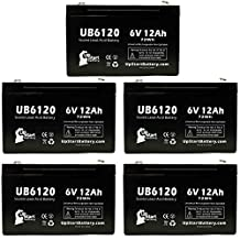 5x Pack - TELEDYNE BIG BEAM H2RQ12S7 Battery - Replacement UB6120 Universal Sealed Lead Acid Battery (6V, 12Ah, 12000mAh, F1 Terminal, AGM, SLA) - Includes 10 F1 to F2 Terminal Adapters