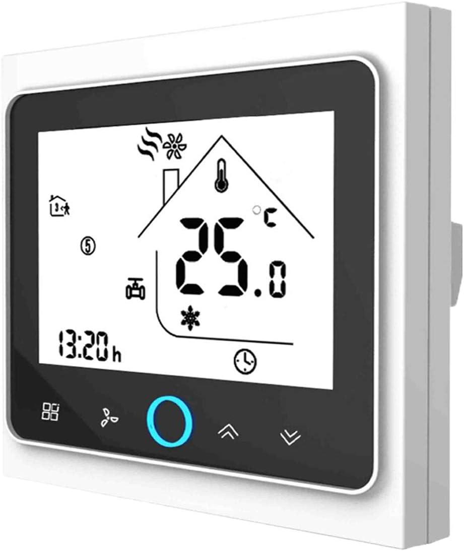 Termostato WiFi para caldera de gas, termostato inteligente pantalla LCD (TN pantalla) Touch Button retroiluminado programable con Alexa Google Home y teléfono APP blanco/negro