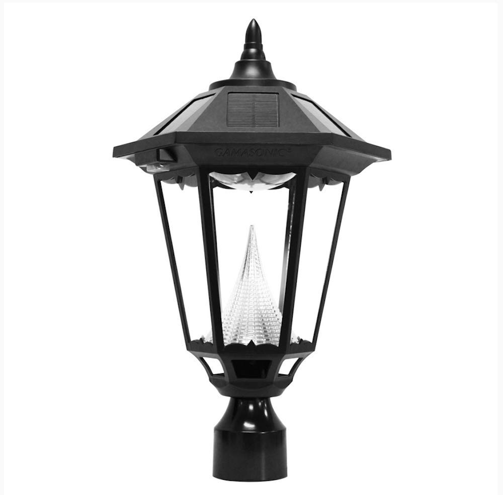 Gama Sonic GS-99F-L Windsor Lamp Outdoor Solar Light Fixture, 3'' Post-Fitter Mount, Black by Gama Sonic