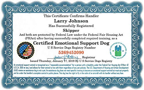 - Official Set of 2 Emotional Support Dog Certificates in Presentation Folder – Fully Customized with Registration to U S Service Dogs Registry