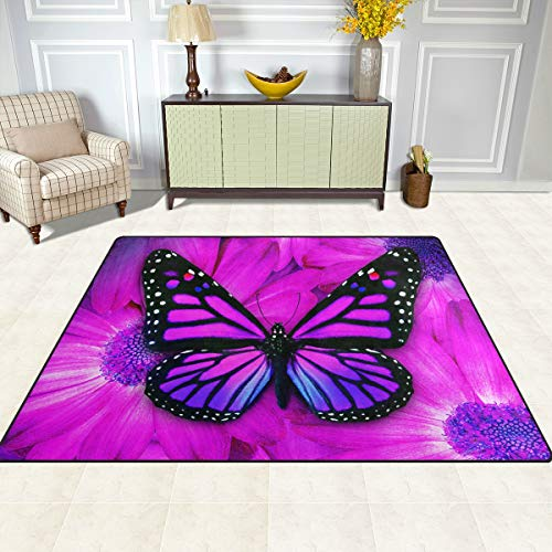 Gaz X Butterfly Area Rug Rugs for Living Room Bedroom 7' x 5'