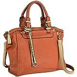 MG Collection SASHA Orange Classic Studded Accents Satchel Bag w/ Shoulder Strap