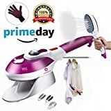 Steamer For Clothes,Powerful Handheld Clothes Steamers Wrinkle Release|Portable,Home & Travel Use |Clean, Sterilize and Fabric Garment with 100ml High Capacity.One glove,2 brushes included,Purple