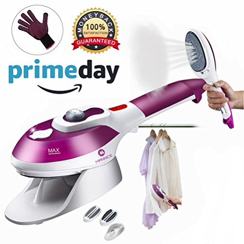 Steamer For Clothes,Powerful Handheld Clothes Steamers Wrinkle Release|Portable,Home & Travel Use |Clean, Sterilize and Fabric Garment with 100ml High Capacity.One glove,2 brushes included,Purple by Mannice