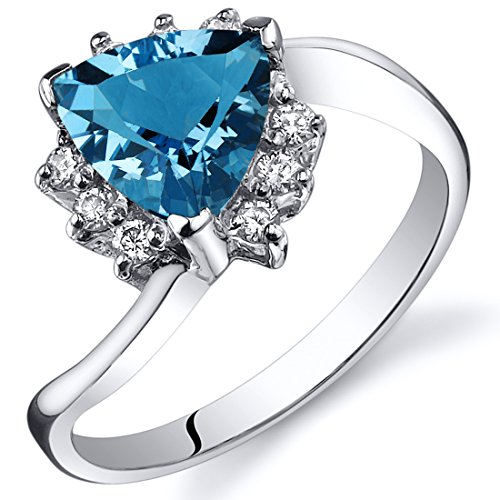 Swiss Blue Topaz Bypass Ring Sterling Silver Rhodium Nickel Finish Trillion Cut 1.25 Carats Size 7