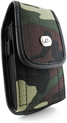for Medium Sized Flip Phones with Metal belt Clip Black Universal Heavy Duty Rugged Nylon Canvas Protective Carrying Cell Phone Case Pouch