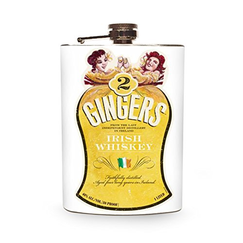 Two Gingers Stainless Steel 8oz Hip Flask for Drinking Irish Whiskey Spirits Alcohol Vintage Sexy Two Women Twins Girl Pin (Sexy Ginger)
