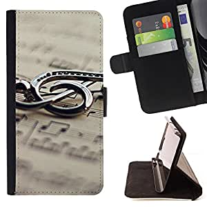 DEVIL CASE - FOR HTC One M7 - Music Metal Note - Style PU Leather Case Wallet Flip Stand Flap Closure Cover