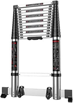 LADDER Escaleras telescópicas, escalera recta telescópica recta de 18 pies para ingeniería, escalera de extensión plegable de aluminio de alta resistencia para carga tipo loft, capacidad de 330 lb: Amazon.es: Bricolaje y