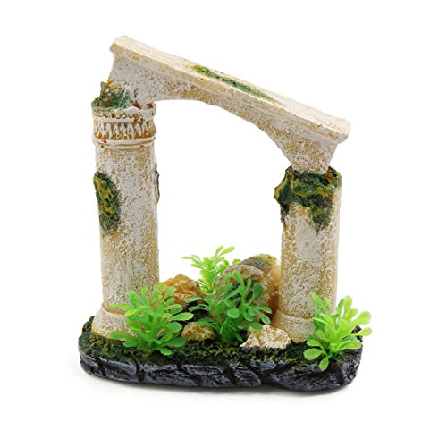 uxcell Resin Mini Roman Column Fish Tank Aquarium Landscape Oranment w/Plastic Plant by uxcell