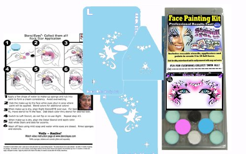 Makeup Kit Rock Star (Face Painting Stencil - StencilEyes - Rock Star Fantasy Face Painting DIY Kit)