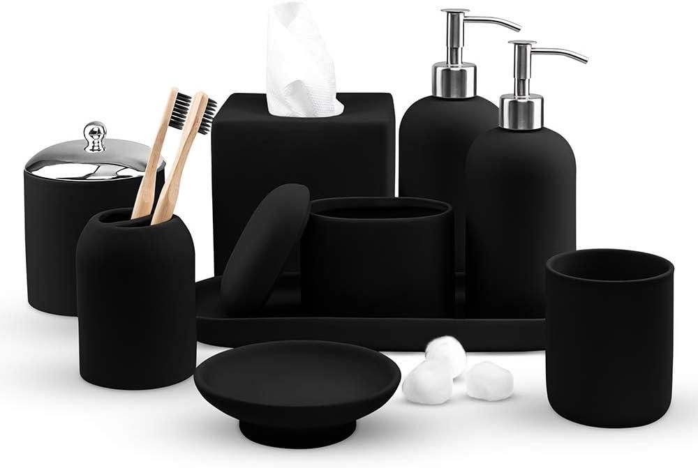 Real Simple- Matching Bathroom Accessories Sets | Soap Dispenser, Lotion Dispenser, Soap Dish, Toothbrush Holder, Tissue Box & More | Complete Modern Bath Decor Set (Black Rubber)