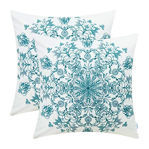 CaliTime Pack of 2 Cozy Fleece Throw Pillow Cases Covers Couch Bed Sofa Vintage Mandala Snowflake Floral 18 X 18 Inches Grey Teal