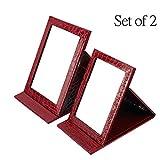 Oneuo Desktop Folding Mirror, Set of 2 Portable Travel Vanity Mirror, Folding Tabletop Mirror Stand Beauty Handheld Mirrors