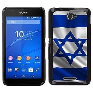 EJOY---Cubierta de la caja de protección para la piel dura ** Sony Xperia E4 ** --Bandera de Israel