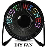 Ruishengda RGB Message Programmable LED Fan, 6 Inch, Black