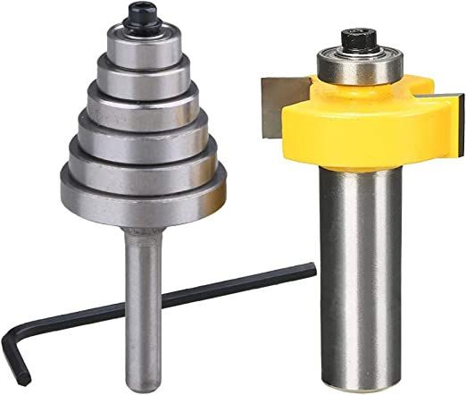 """1//4/"""" Shank Rabbet Router Bit Groove Cutter with 6 Bearings for Woodworking"""