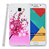 Kit Me Out CAN® Samsung Galaxy A5 (2016) [Shock Absorbing] [Thin Fit] TPU Gel Case Cover Skin Pouch - White / Pink Blossom