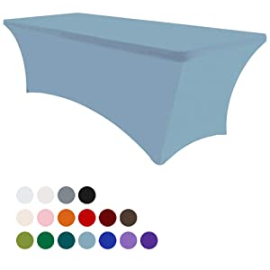 Eurmax 6Ft Rectangular Fitted Spandex Tablecloths Wedding Party Table Covers Event Stretchable Tablecloth (Sky Blue)