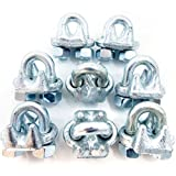 8 New Malleable Galvanized Wire Rope Cable Clips, 3/8""