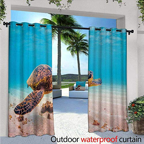 (BlountDecor Turtle Balcony Curtains W84 x L108 Hawaiian Green Sea Turtle Cruises in Warm Waters of The Pacific Ocean Photo Outdoor Patio Curtains Waterproof with Grommets Aqua Cinnamon Brown)