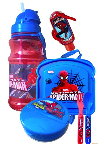 Disneyland Survival Kit Lunch on the Go Water Bottle , Sandwich and Snack Container with Fork and Spoon Marvel Super Heroes Avengers and Spiderman Includes Handy Hand Sanitizer ! (Spiderman)