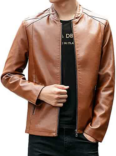 badba8f2a0426 Shirts Allywit Mens Leather Jacket Stand PU Mens Faux Fur Coats Motorcycle  Jacket