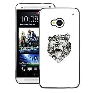 A-type Arte & diseño plástico duro Fundas Cover Cubre Hard Case Cover para HTC One M7 (Bear Roar Tribal Pattern White Art Ink)