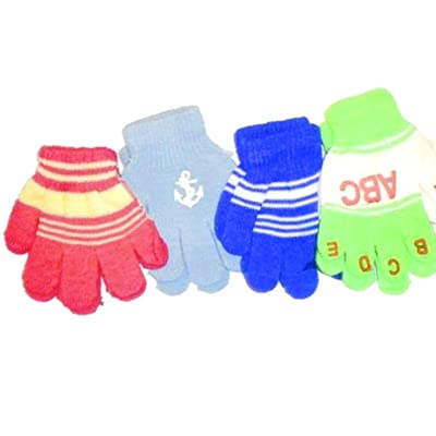 Four Pairs of One Size Magic Gloves for Infants Ages 1-3 Years
