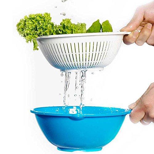 Plastic Vegetables Fruit 2 in 1 Basket Basin Wash Rice Sieve Bowl Good Helper Kitchen Cooking Tools Gadget
