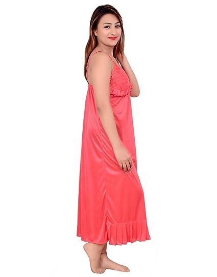 5d98eeee546 Rajan   Traders Women s Satin Full Length Night Robe Nighty (Red ...
