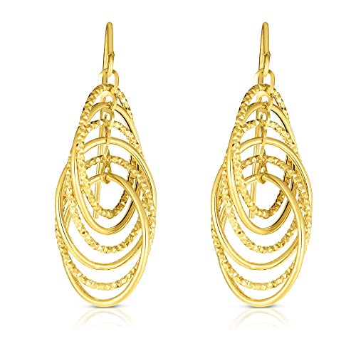 14K Yellow Gold 12x30mm Shiny Diamond Cut Oval Link Drop Fancy Earrings 1230mm with Euro Wire