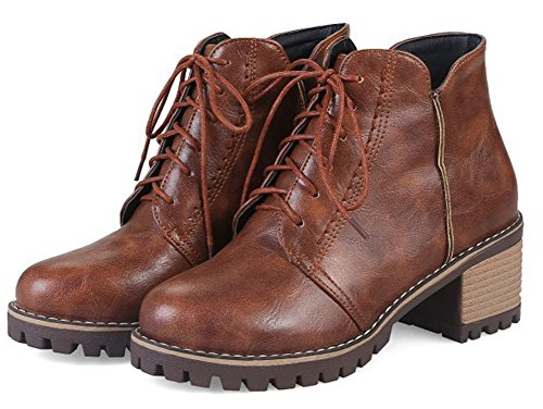 Aisun Women's Round Toe Lace Up Vintage Mid Block Heel Ankle High Boots