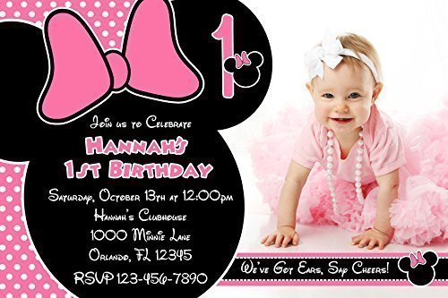 Minnie Mouse Birthday Party Photo Invitations, Pink and Black, Printed Personalized (Minnie Mouse Photo Birthday Invitations)
