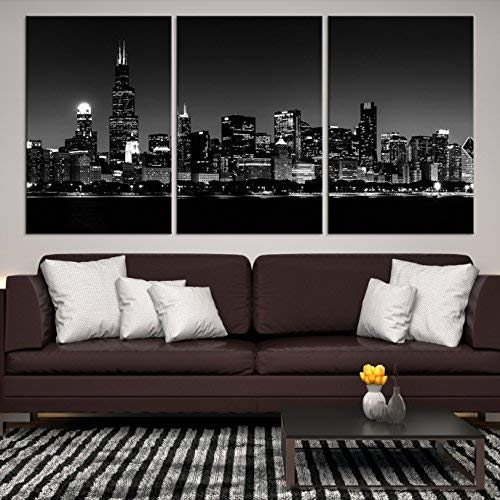 Chicago Skyline Wall Art Canvas Print | X-Large 3 Piece Framed Multi Panel Print | High Resolution Black & White Photo of City for Home Décor | Ready to Hang, 3 Extra Large Sizes (World Map Black And White High Resolution)