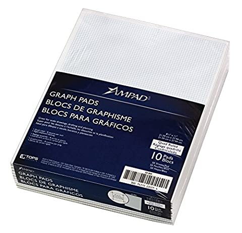 Ampad Quadrille Pad with 8 Squares per Inch, Letter Size, White, 50 Sheets per Pad (22-005) - Graph Pad