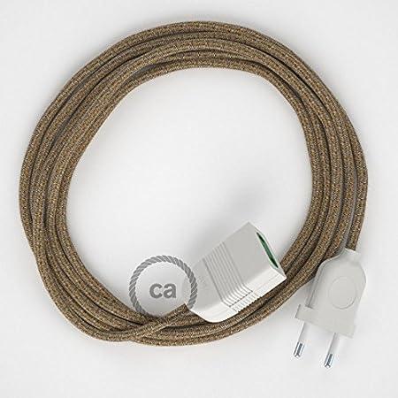 Prolunga elettrica con cavo tessile RS82 Cotone e Lino Naturale Marrone 2P 10A Made in Italy. - 1.5 Metri, Bianco Creative-Cables