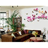 Ikeelife Home Decorative Mural Decal Art Vinyl Wall Sticker Magnolia Flower Tree Colorful Butterfly Bird Pink Wallpaper