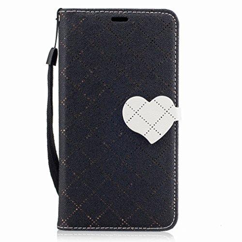 Yiizy Motorola Moto G5 Custodia Cover, Amare Design Sottile Flip Portafoglio PU Pelle Cuoio Copertura Shell Case Slot Schede Cavalletto Stile Libro Bumper Protettivo Borsa (Nero)