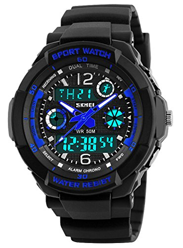 Kid Watch Multi Function Digital LED Sport 50M Waterproof Electronic Analog Quartz Watches for Boy Girl Children Gift Blue