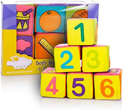 6pcs Newborn Baby Cloth Building Blocks Cube Soft Rattle Early Educational Toys