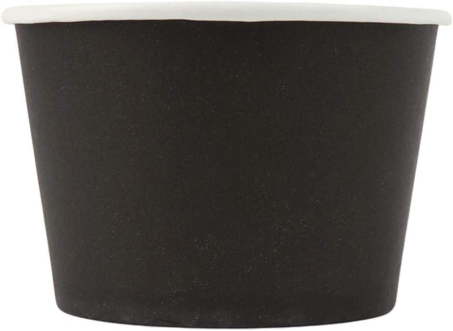 [50 Count] Black Paper Ice Cream Cups - 8 oz Eco-Friendly Dessert Containers - Perfect For Your Yummy Foods! Many Colors & Sizes - Frozen Dessert Supplies