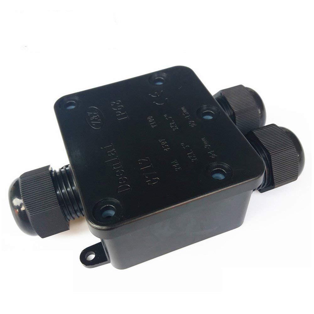 Bo/îte de d/érivation connecteur de c/âble 3 voies dext/érieur IP68 /étanche connecteur de c/âble externe Peut /électriques goupilles pour c/âble 12-15 mm c/âble Diam/ètre Noir Coupler