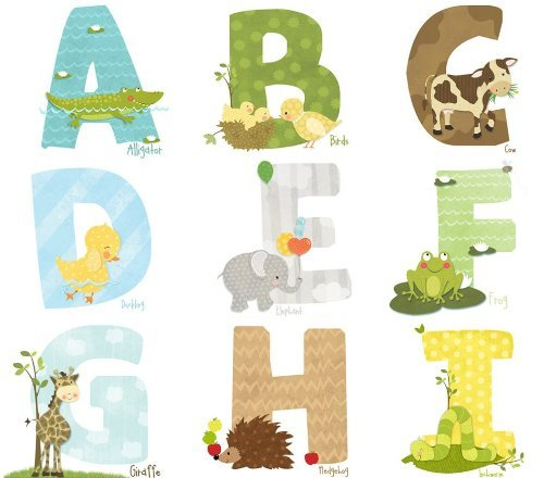 Lil' Cloud Designs - Original Art Animal Alphabet Wall Decal Stickers