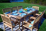 9pc Outdoor Teak Wood Patio Dining Furniture Set