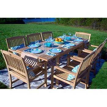 amazon com 7pc teak wood patio dining set garden outdoor