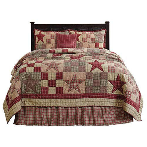The BitLoom Co. Primitive Country, Star Patch Red Quilt Sets, 5 Piece Luxury King, Red