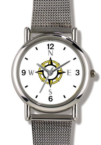 Navigational Compass Nautical Theme - WATCHBUDDY ELITE Chrome-Plated Metal Alloy Watch with Metal Mesh Strap-Size-Small ( Children's Size - Boy's Size & Girl's Size )